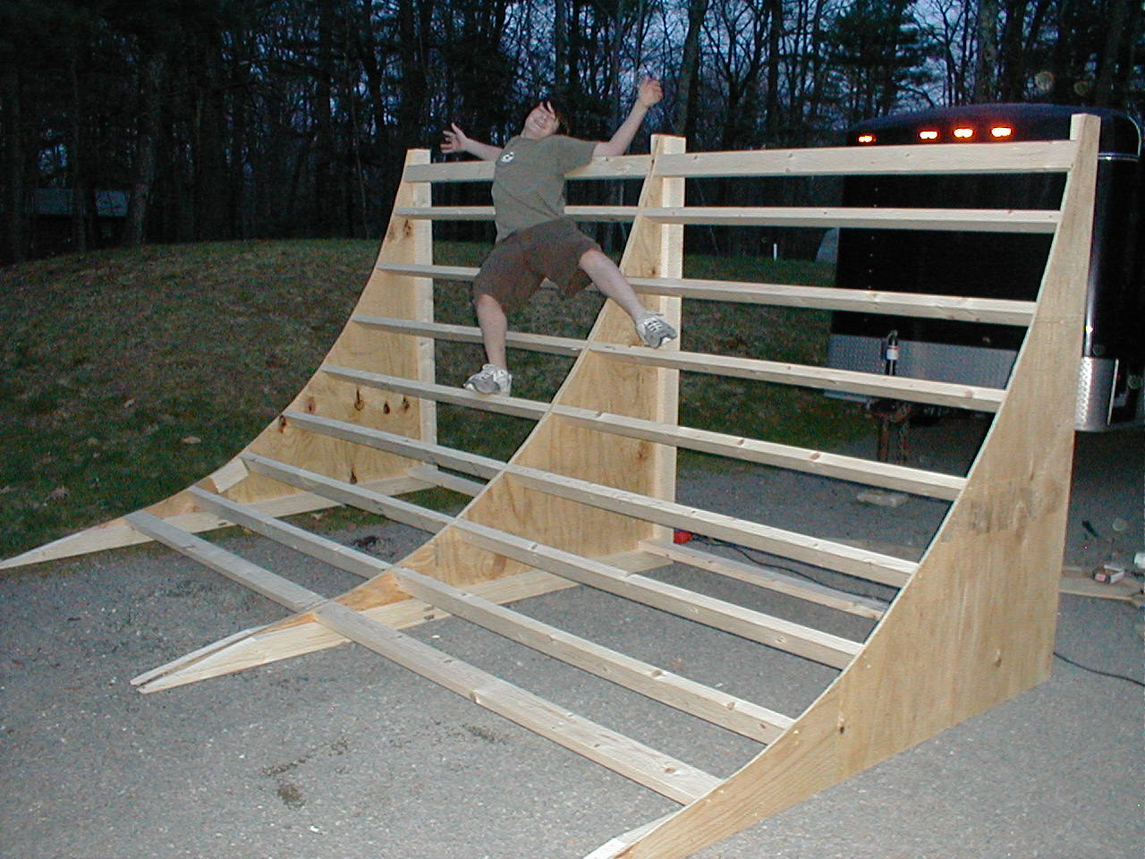 on our backyard in the woods massive skateboard halfpipe
